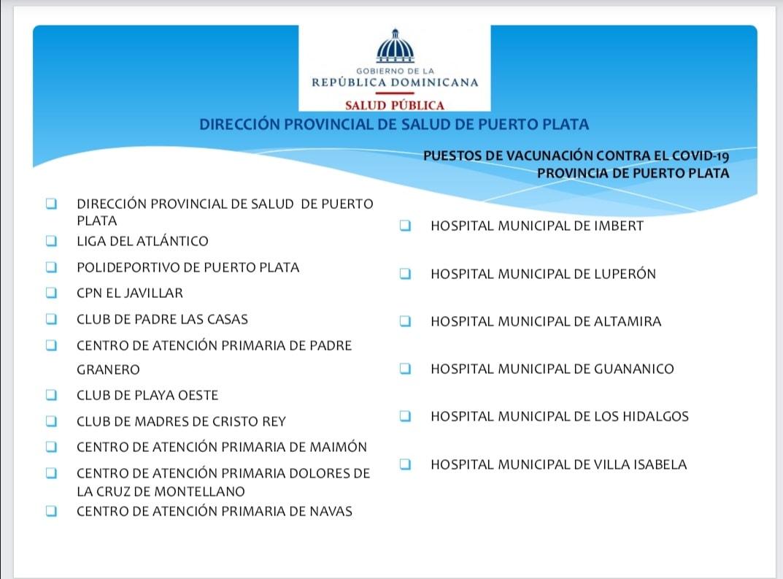 donde vacunarme en puerto plata republica dominicana covid 19