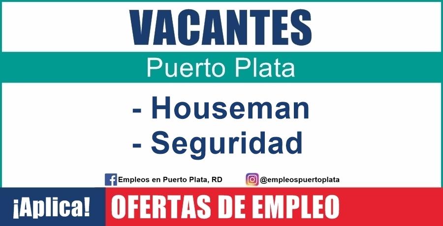 vacante de empleo de Houseman y Seguridad para trabajar en hotel de Sosúa