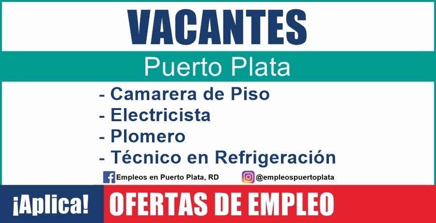 vacante de empleo de Camarera de Piso, Electricista, Plomero y Técnico en Refrigeración